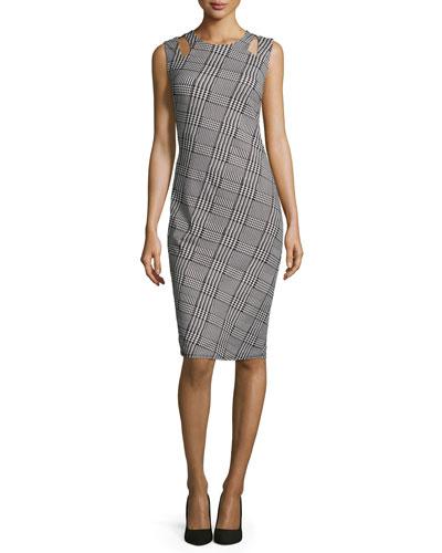 Sleeveless Plaid Sheath Dress W/Cutouts, Black/White