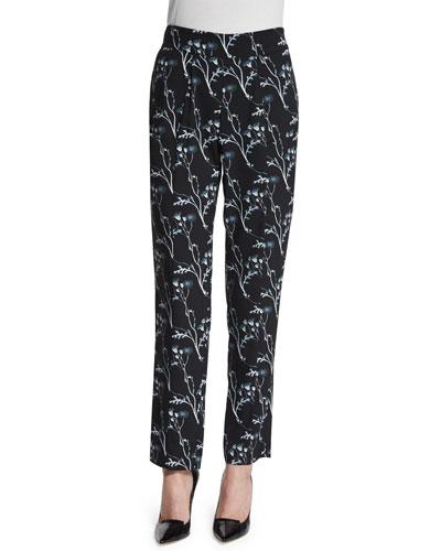 Floral Silk Ankle Pants, Black
