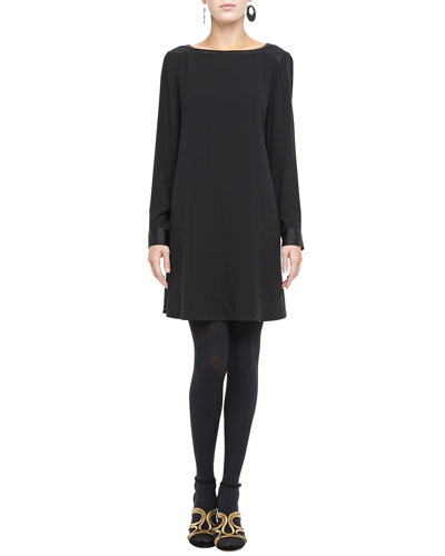 Washable Silk Long-Sleeve Dress, Plus Size