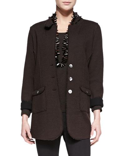 Felted Merino Long Jacket, Plus Size