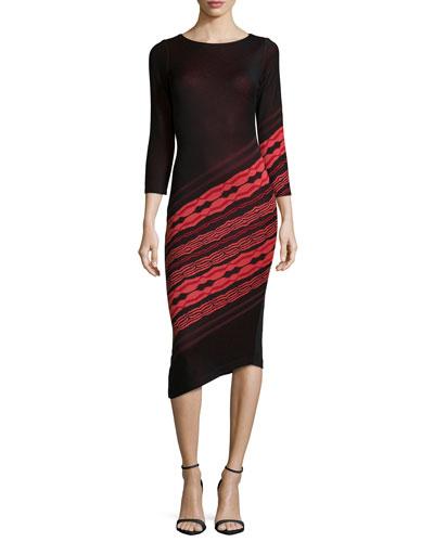 3/4-Sleeve Angled-Stripe Dress, Black/Ruby Coral