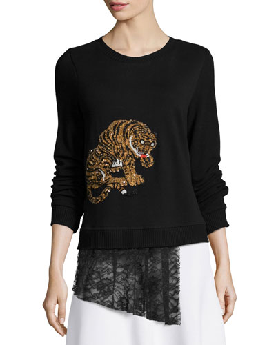 Tiger-Embellished Sweater