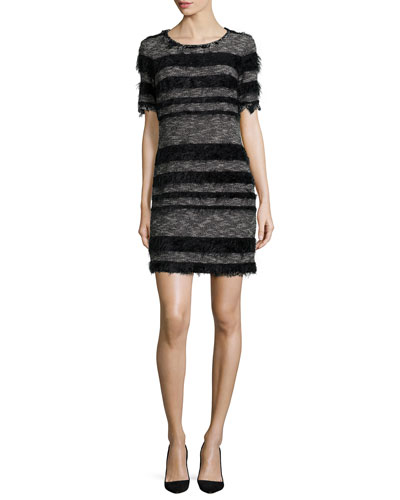 Short-Sleeve Striped Sheath Dress
