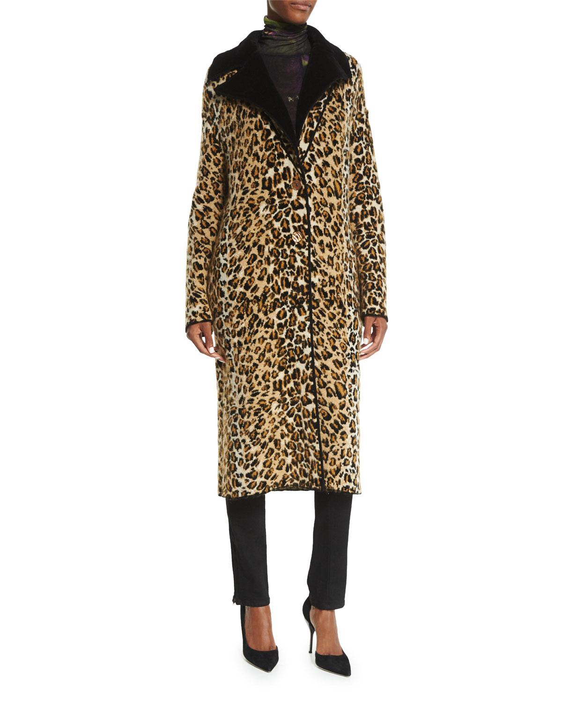 Leopard-Print Sweater Topper Coat