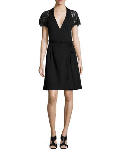 Elizabeth Lace-Sleeve Wrap Dress