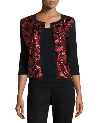 Sequined Floral Button-Front Cardigan, Petite