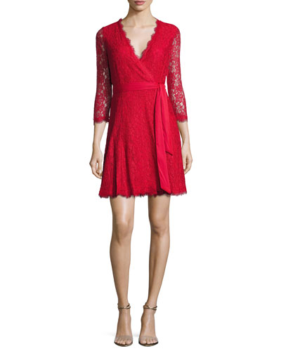 Julita 3/4-Sleeve Stretch Lace Wrap Dress, Lacquer Red