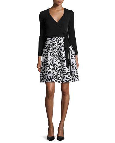 Jewel Leaf-Print Wrap Dress