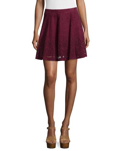 Inaja Laser-Cut Suede A-Line Skirt, Merlot