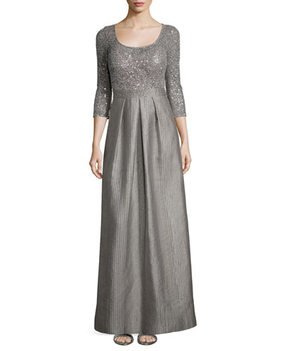 3/4-Sleeve Sequined Full-Skirt Dress