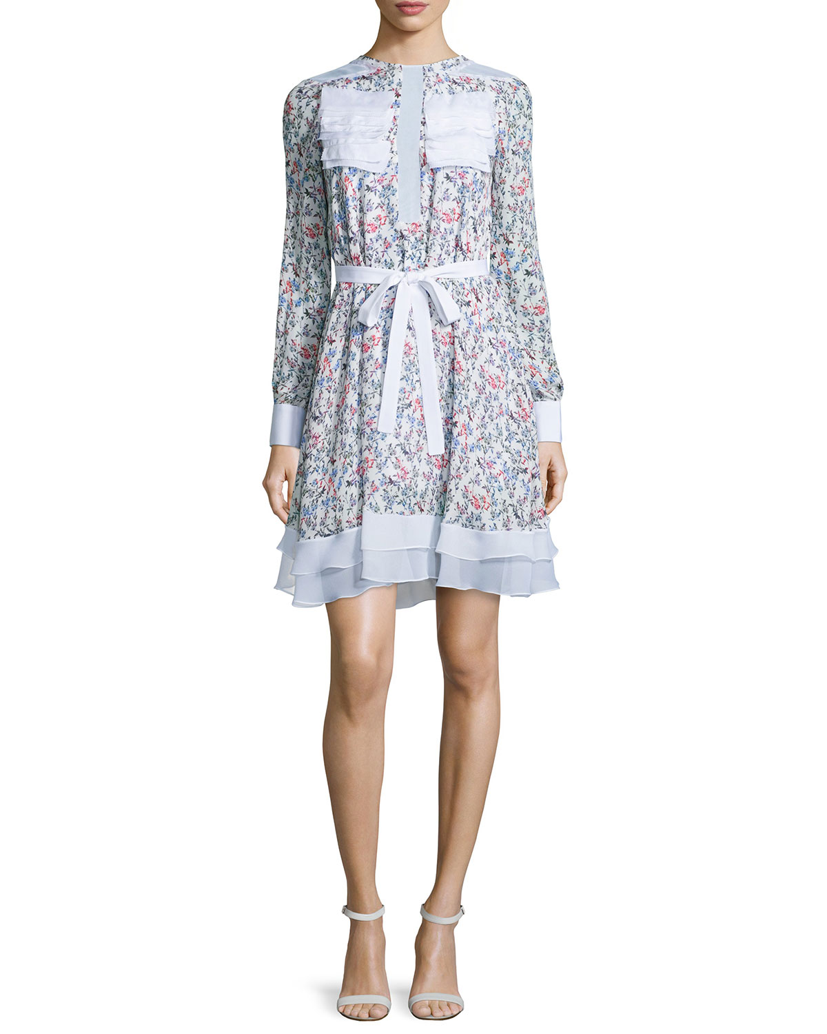 Long-Sleeve Floral-Print Dress, Small Falling Flowers