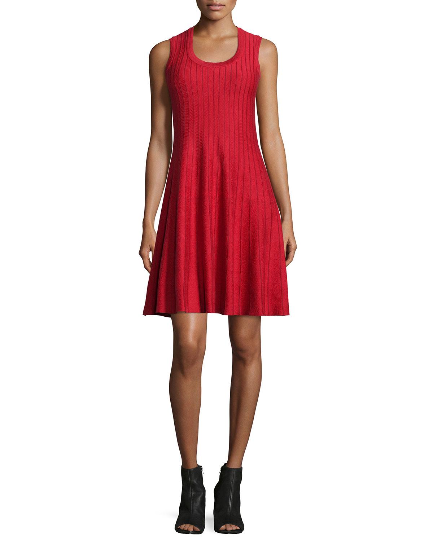 Twirl Sleeveless Knit Dress, Red