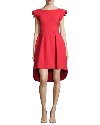 Rosette Cap-Sleeve High-Low Dress