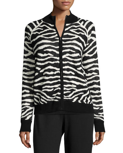 Zebra-Print Zip-Front Jacket, Plus Size