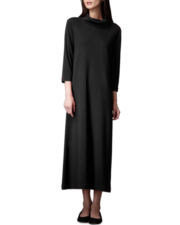 Turtleneck Maxi Dress, Black