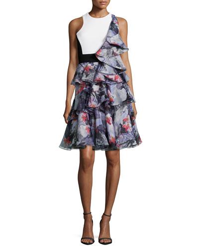 Sleeveless Ruffle Dress W/Cutouts, Bright Pink