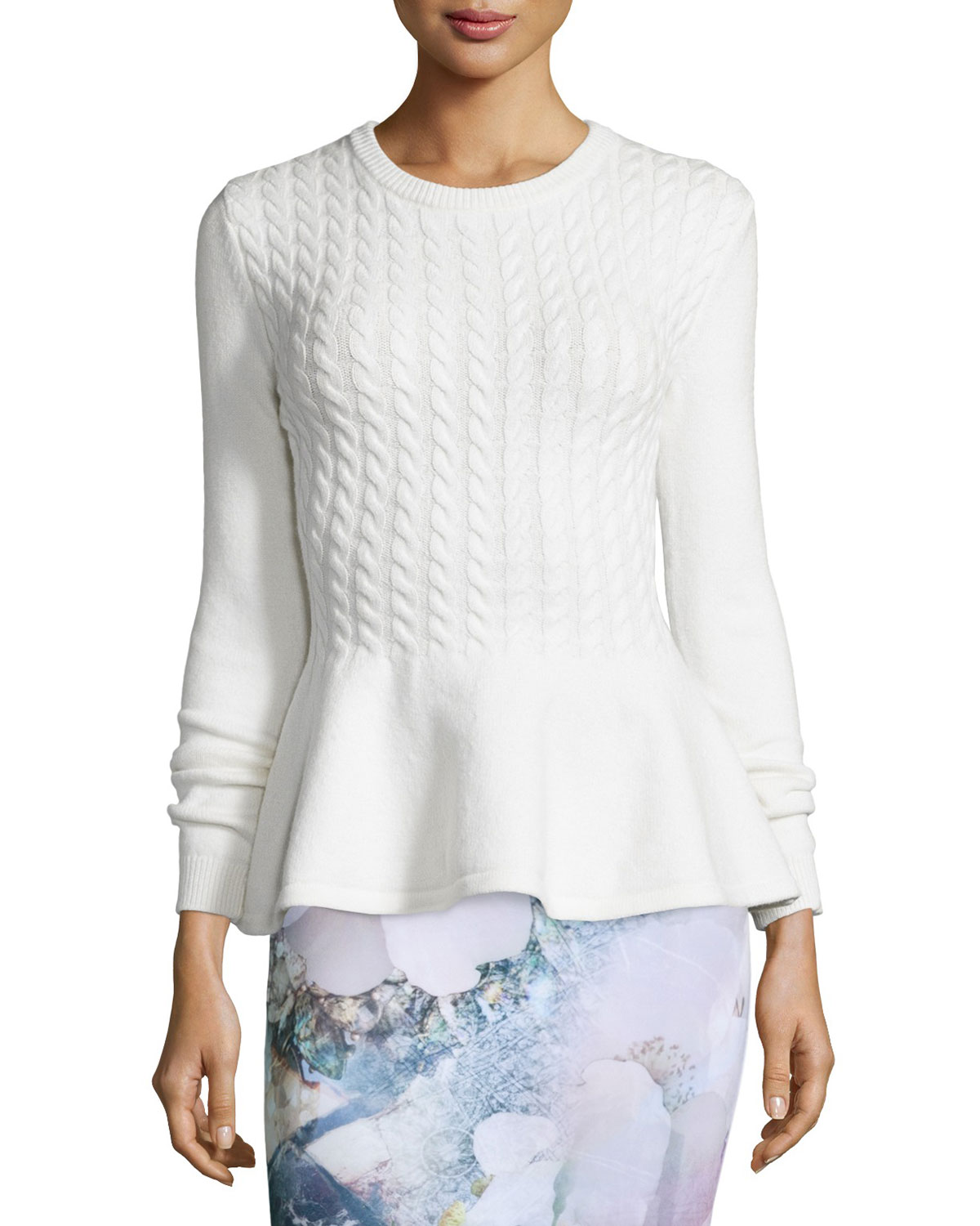 Mereda Cable-Knit Peplum Sweater, Natural