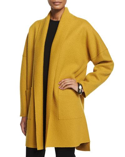 Boiled Wool Kimono Coat, Mustard, Plus Size