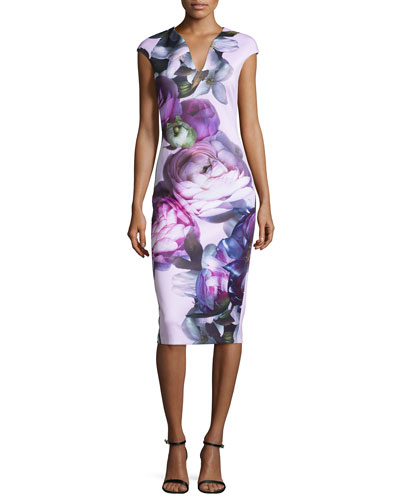 Emaline Sunlit-Floral Midi Dress, Multi Colors