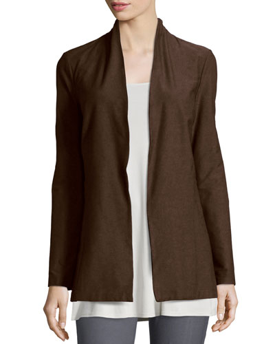 Long Washable Crepe Shawl-Collar Jacket, Chocolate, Petite