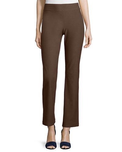 Washable Crepe Slim Boot-Cut Pants, Chocolate, Plus Size