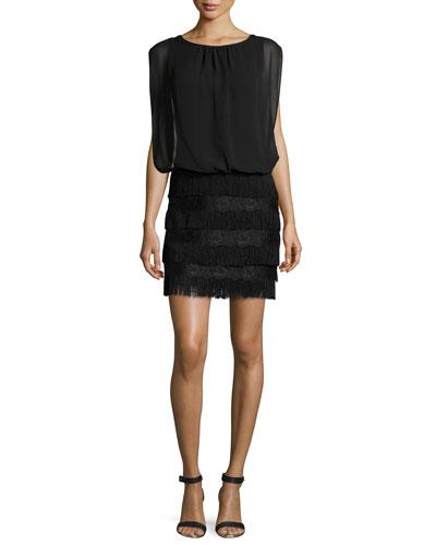 Blouson-Topped Fringe Cocktail Dress