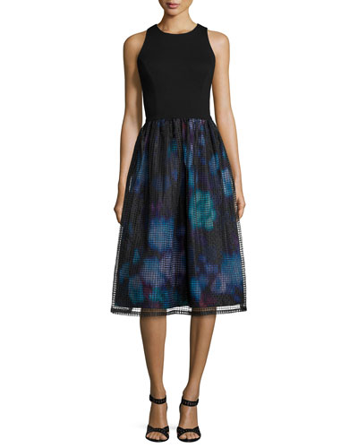 Sleeveless Combo Printed-Skirt Dress