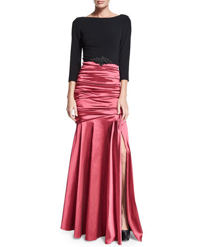 3/4-Sleeve Ruched Mermaid Combo Gown