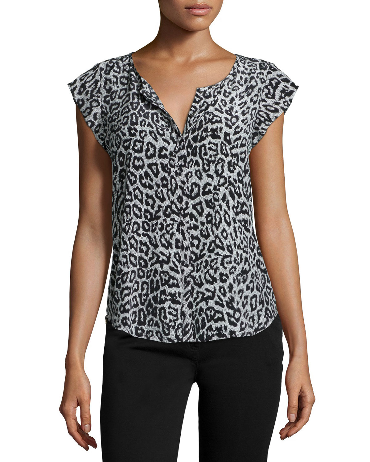 Iva Animal-Print Cap-Sleeve Blouse