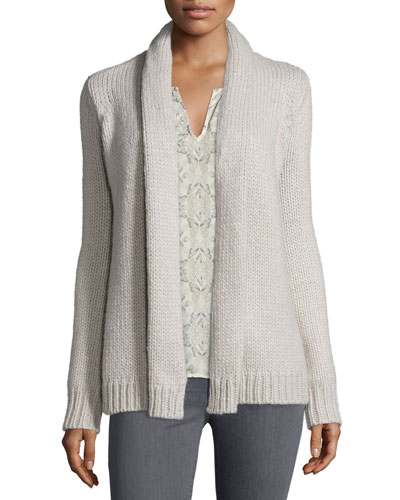 Brunone Open-Front Cardigan, Heather Oatmeal