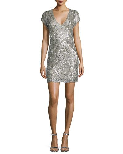 Serena Short-Sleeve V-Neck Sequined Dress