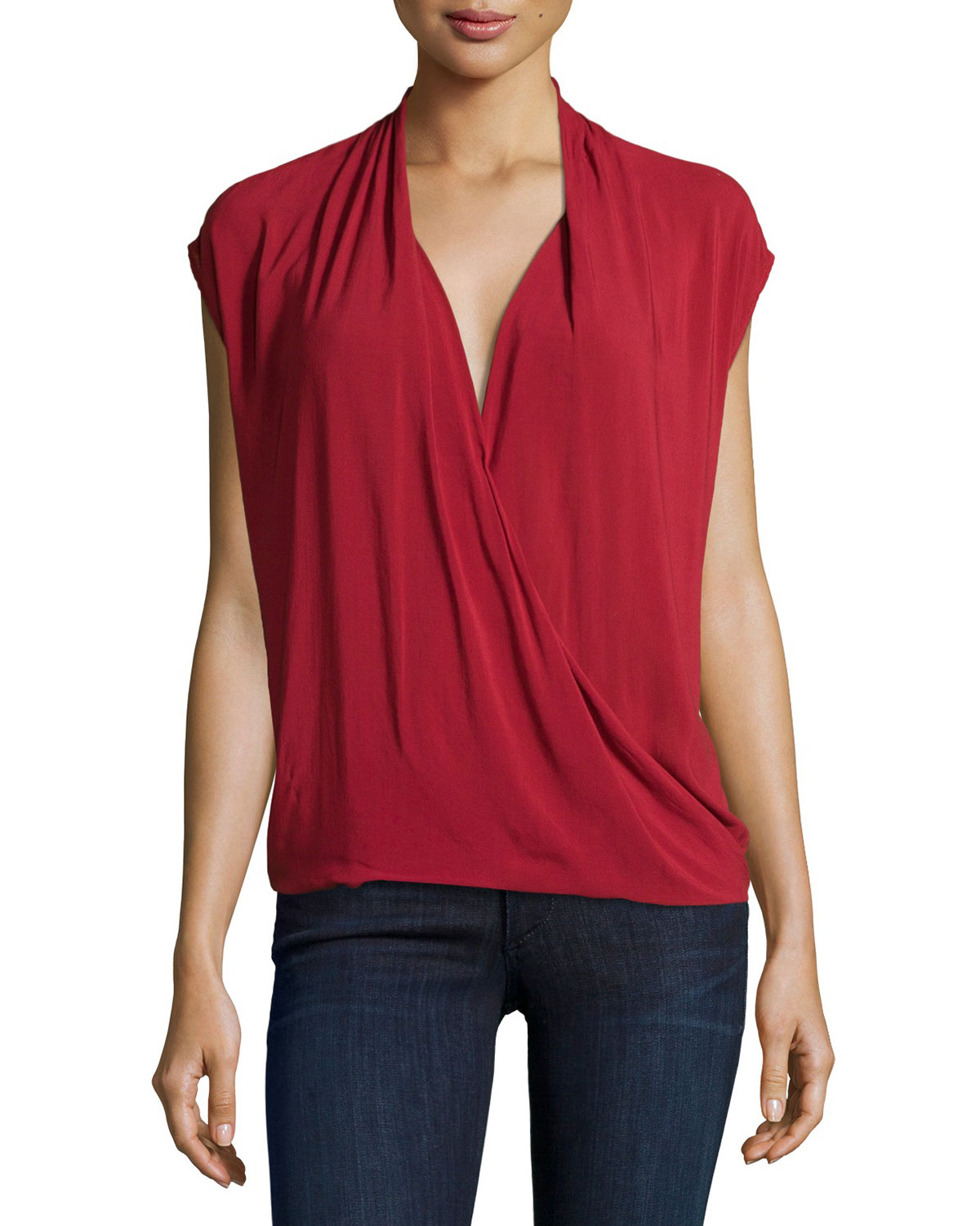Manda Faux-Wrap Blouse, Bison