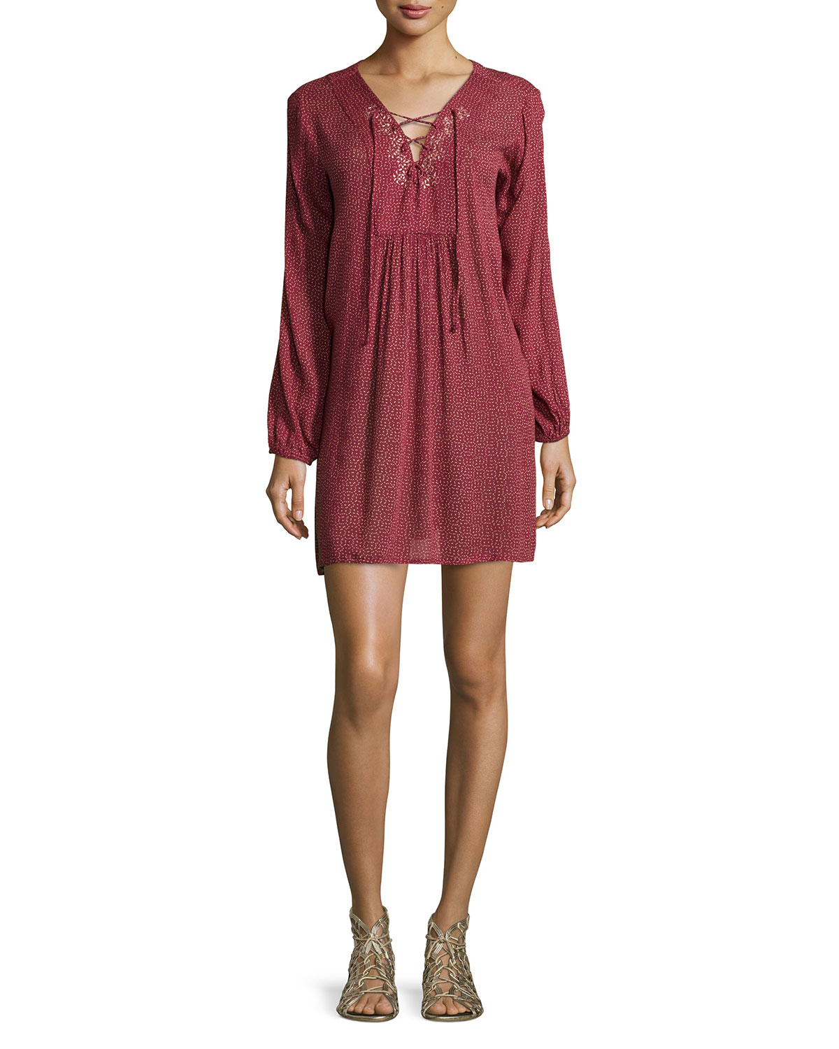 Sloane Long-Sleeve Dress, Red