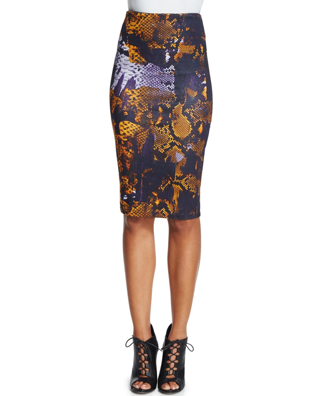 Snake-Print Contour Pencil Skirt