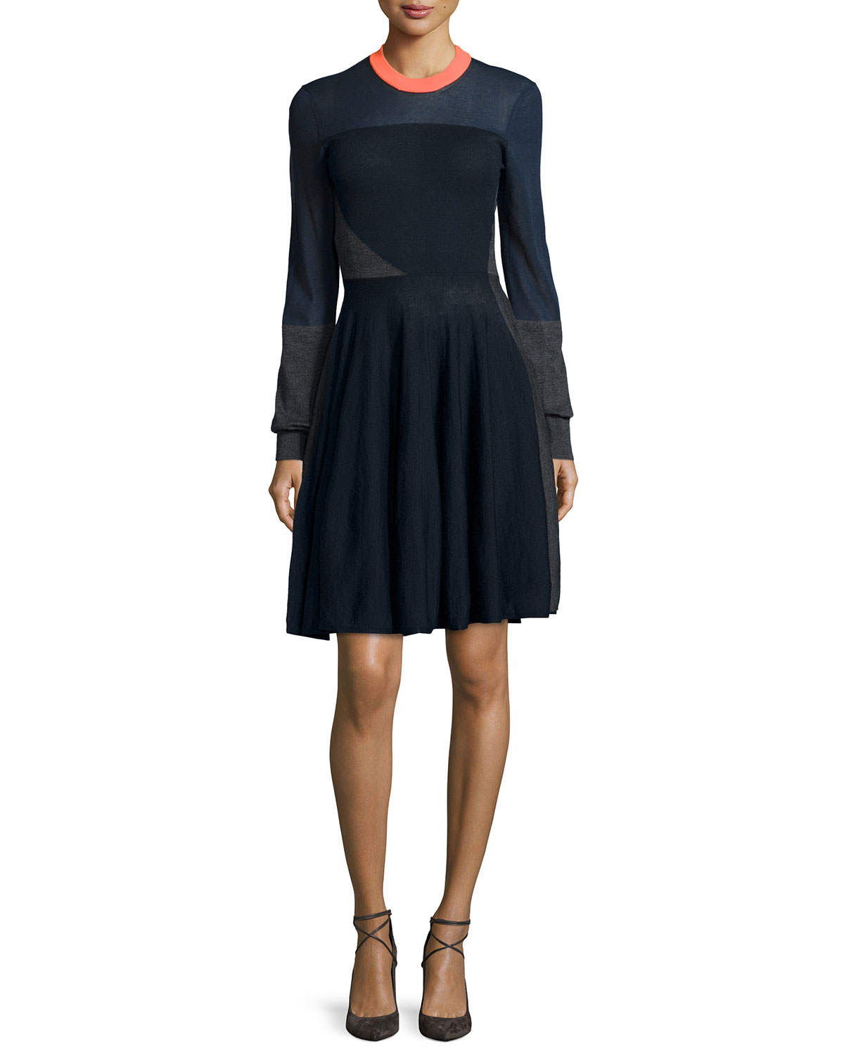 Colorblock A-Line Sweater Dress