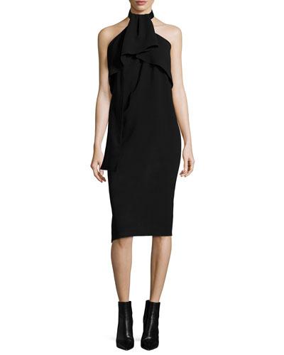 Sleeveless Drape-Neck Halter Dress, Black