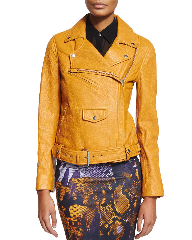 Classic Lambskin Biker Jacket, Amber