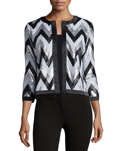 Zigzag-Sequined Jacket, Plus Size