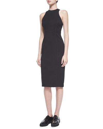 Ponte Sleeveless Dress, Black