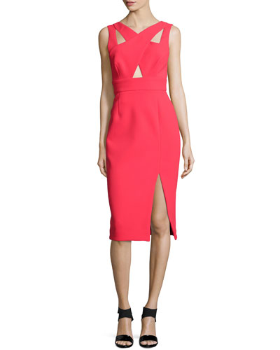 Sleeveless Crisscross Sheath Dress, Poppy