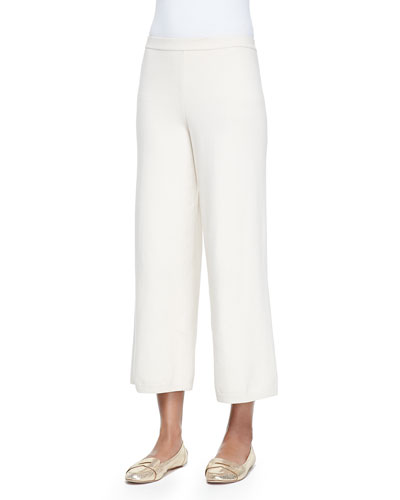 Silk-Cashmere Wide-Leg Pants, Ivory , Plus Size