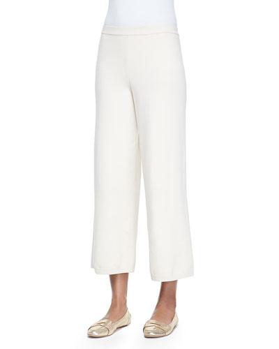 Silk-Cashmere Wide-Leg Pants, Ivory , Plus Size