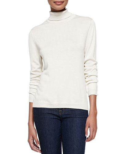 Silk-Cashmere Long-Sleeve Turtleneck, Ivory, Plus Size