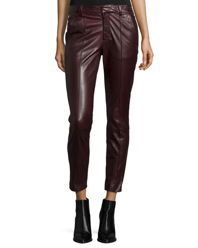 Mid-Rise Leather Pintuck Trousers, Shiraz