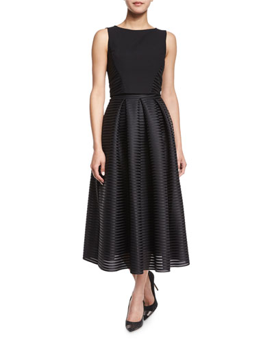 Sleeveless Two-Piece Tea-Length Cocktail Dress