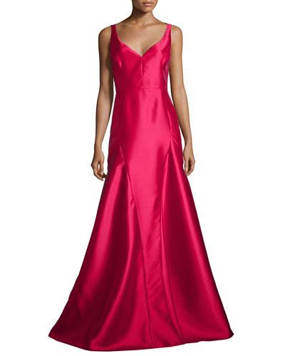Sleeveless V-Neck Godet Ball Gown