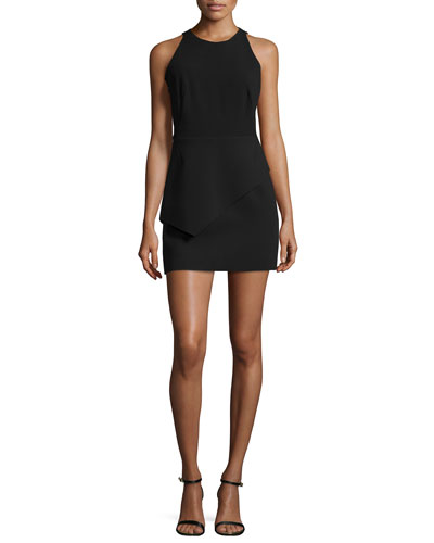 Tank Dress W/Asymmetric Peplum, Black
