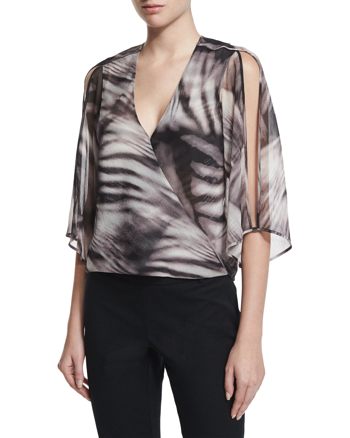 SLIT SLV WRAP BLOUSE