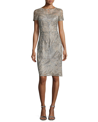 Short-Sleeve Embroidered Sheath Cocktail Dress