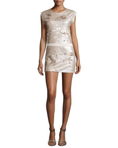 Sequined Cap-Sleeve Slip Dress
